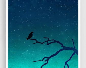 30% OFF SALE: And then... only the silence remains (vertical) - Love illustration Art Print Home decor Nature print Turquoise Blue Night sky
