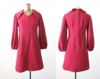 60s mini dress - long sleeve 1960s mod dress - burgundy red dress - 1960s clothing - twiggy - shift dress - vintage 60s dress Small