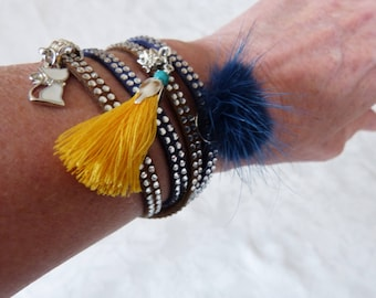 suedine cuff and rhinestones tendance4 towers cord 5 mm suede with Rhinestone, with tassels and cat charm