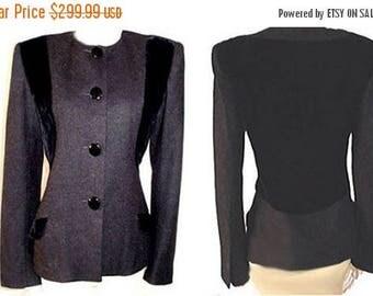 SUMMER SALE Vintage Jacqueline de Ribes Velvet & Wool Jacket Made in France designer jacket black velvet jacket gray jacket 80s jacket wasp