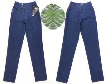 vintage roper jeans, deadstock 1990s denim jeans, high waisted mom jeans, 90s dark wash straight leg jeans, saddle jeans, vintage NOS pants