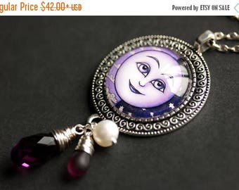 SUMMER SALE Moon Necklace. Amethyst Crystal Necklace. Moon Pendant. Crystal Pendant Bronze Charm Necklace. Lunar Necklace Moon Jewelry. Hand