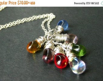 SUMMER SALE Teardrop Necklace with Clear Charms and Silver. Cluster Necklace. Handmade Jewelry.