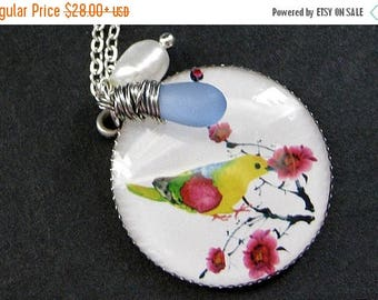 SUMMER SALE Bird Necklace. Rainbow Bird Necklace with Fresh Water Pearl and Blue Teardrop Charm. Handmade Jewelry.