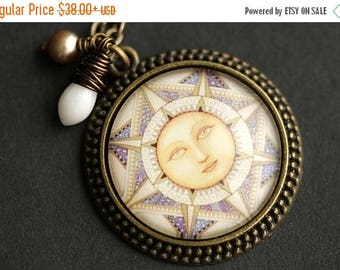 BACK to SCHOOL SALE Art Deco Sun Necklace. Yellow Sun Pendant with White Coral Teardrop and Light Brown Fresh Water Pearl. Bronze Necklace.