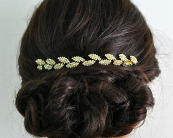 Bridal Hair Vine, Gold Leaf Hair Comb, Wedding Hair Piece, Golden Vine Hairpiece, Silver Vine With Combs