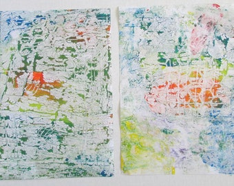 gelli print on sticker paper marbled paper set of two pages 8.5 x 11