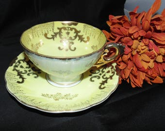 Vintage Antique Unbranded Tea Cup and Saucer Yellow Flowers Floral Gold Gilt