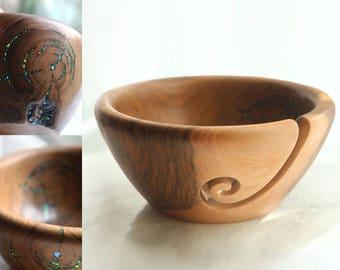OOAK Walnut wood knitting bowl w/ faux opal inlay, wooden bowl, mom gift for her, yarn bowl knit crochet organizer, home decor gift fort mom