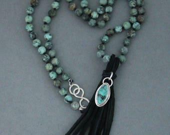 Bead Mala Necklace, African Turquoise Mala, Knotted Bead Necklace, Black Tassel Necklace, Tassel Mala, Boho Tassel Necklace