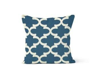 Blue Moroccan Pillow Cover Quatrefoil - Fynn Cadet - Lumbar 12 14 16 18 20 22 24 26 Euro - Hidden Zipper Closure