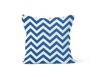 Blue Chevron Pillow Cover - Zig Zag Cobalt - Lumbar 12 14 16 18 20 22 24 26 Euro - Hidden Zipper Closure