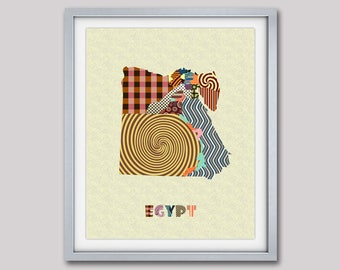 Egypt Map Art Print, Egyptian Poster, Egypt Art, Cairo, Egyptian Wall Art Print, Map Art Egypt