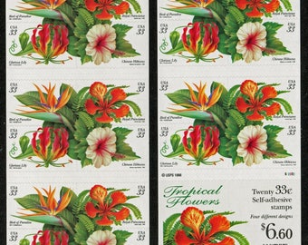 Tropical Flowers twenty 33 cent stamps
