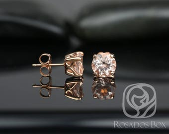 Rosados Box Donna 7mm 14kt Rose Gold Round Morganite Leaf Gallery Basket Stud Earrings