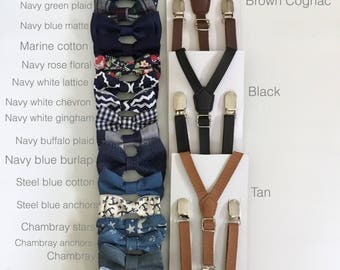 Navy blue bow tie Tan skinny Leather Suspenders marine bowtie Newborn-XL Adult Wedding Ring Bearer Outfit toddler boys kid men groomsmen gif