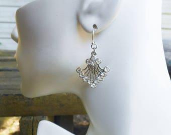 Vintage rhinestone earrings, fan earrings, crystal earrings, costume earrings, rhinestone earrings, gift ideas, gift for her, glass earring