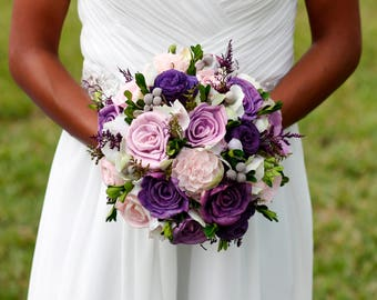 Wedding Package,Purple Bridal Bouquet,Purple beach sandals,Purple Sola Bouquet,destination wedding,coastal wedding
