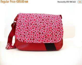 SALE messenger bag burgundy with dots , crossbody bag for women in leatherette and graphic fabric ,