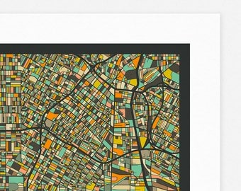 LOS ANGELES MAP (Giclée Fine Art Print, Photographic Print or Poster Print) dark version