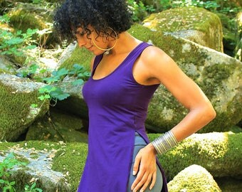 Tunic tank-womens tunic-yoga style-funky tops-sexy tops-tunics-womens blouses-ladies tank top-atheisure-hippie clothing-goddess tops-purple