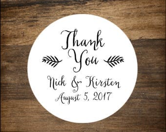 """Wedding stickers, 1"""" round, set of 63.  Personalized labels. Thank You with leaf design. Bridal shower or party favor stickers."""