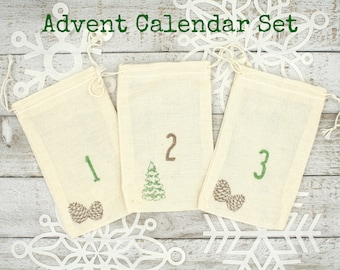 Advent calendar set, 24 cloth drawstring bags, hand stamped, rustic chic holiday decor, pine cone and tree design, advent calendar kit