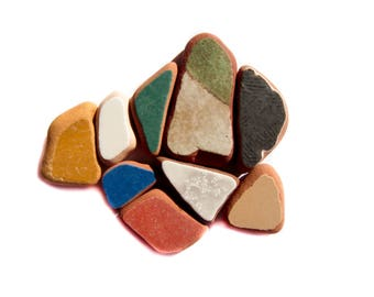 9 pieces of Painted Terracotta Sea Beach Pottery, Black/Green/Mustard/Blue/White/Brick Sea Pottery,  Pendant/Ring Sized , Mosaic Craft