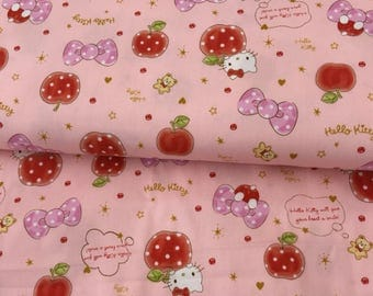 Sanrio Hello Kitty and Strawberry Print Fabric / Japanese Fabric 110cm x 50cm