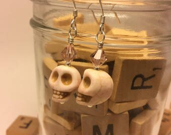 Hand Made Earrings- white skulls