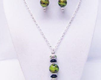 Green/Black and Brown Swirl Lamp Work Glass Bead Pendant Necklace & Earrings Set