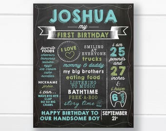First Birthday Chalkboard Sign // 1st Birthday Chalkboard // Personalized and Printable Birthday Poster // Blue and Green