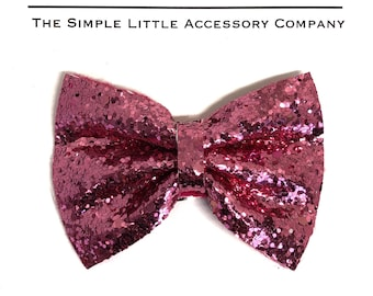 Rose Pink Glitter Big Pinch Bow