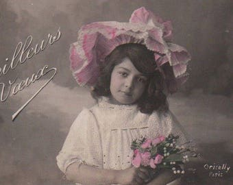 Girl Was Particular About Who Attended Her Tea Parties Antique Photo Postcard