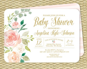 Floral Baby Girl Shower Invitation Girl Baby Shower Invite Floral Baby Shower Invitation Baby Sprinkle Peach and Blush Pink Peonies Roses