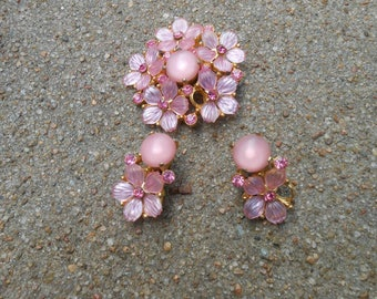 Vintage Pink brooch and clip on earrings 2 missing petals.