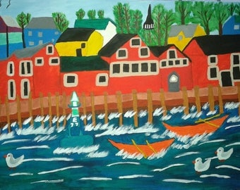 Original Folk Art Painting of Lunenburg Nova Scotia in Atlantic