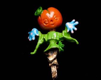 Vintage Tortolani Pumpkin Scarecrow Brooch Figural Pin Enamel Pin