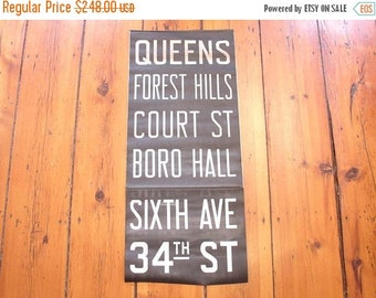 "ON SALE vintage 30's bus or subway destination sign ""queens to 34th street"" new york city"