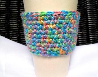 Crochet Rainbow Coffee Cozy, Multi Colored Coffee Sleeve, Ready To Ship
