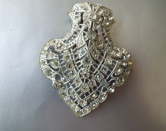 Art Deco silver filigree rhinestone dress clip hallmarked NE New England Glass co. 1930s