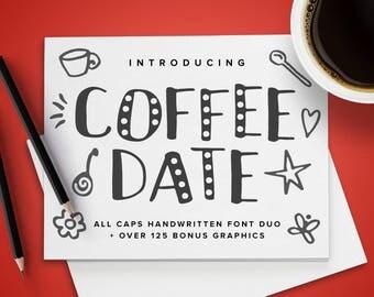 Coffee Date Font Duo plus 125+ Bonus Graphics | OTF & TTF | Fun Cute All Caps Handwritten Handmade Typeface