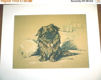 SALE Pekingese Signed mounted 1936 Lucy Dawson George Pekinese dog plate print Unique Christmas thanksgiving Birthday Thanks dog lover gift