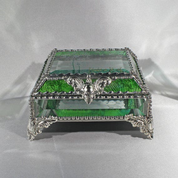 Dandylion Make a Wish Carved Glass Jewelry Box -  Faberge Style