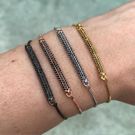 Pave Crystal bracelets, crystal jewelry, bar bracelets