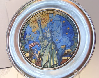 United States Historical Society Statue of Liberty Commemorative Collector Plate in  Stained Glass and Pewter by Jefferson Pewter