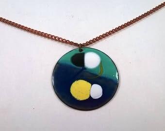 Vintage Green Blue Enamel Medallion Necklace  - Large Round Copper Pendant Retro Jewelry 1970s