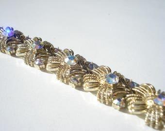 Vintage Coro Aurora Borealis Rhinestone Bracelet - Glam Jewellery - Bridal Costume Jewelry 1960s