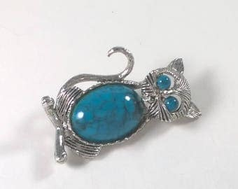 Vintage Cat Brooch Silver Tone Turquoise Kitty Pin - Retro Costume Jewelry 1970s - Gerry's