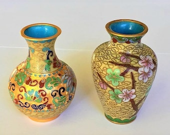 Vintage Miniature Cloisonne Vases, decorative turquoise enamel floral vases, home decor
